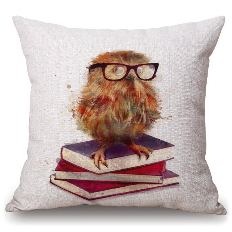 Stylish Night Owl Watercolor Pattern Square Shape Pillowcase (Without Pillow Inner) - COLORMIX