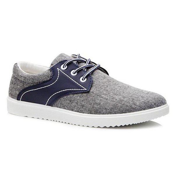 Stylish  Splicing and Lace-Up Design Men's Casual Shoes - BLUE 44