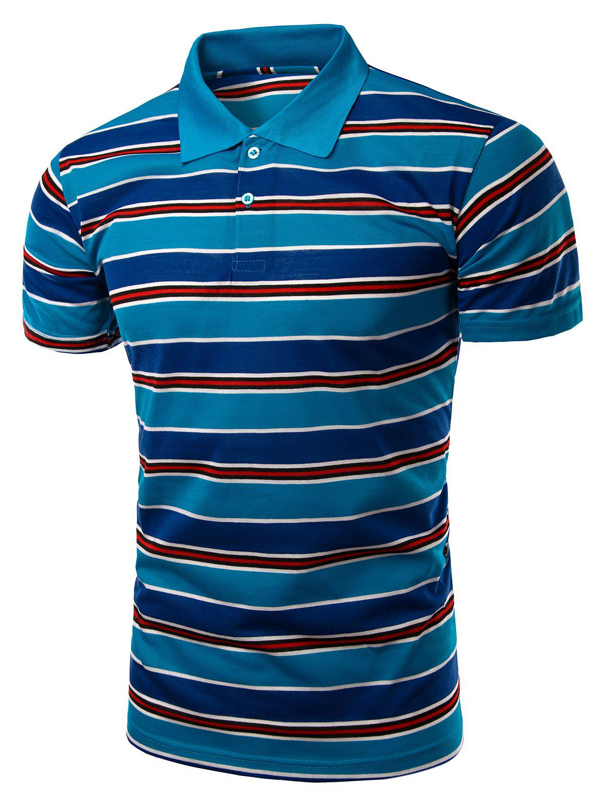 Stylish Turn-Down Collar Striped Print Short Sleeve Polo T-Shirt For Men - SAPPHIRE BLUE XL
