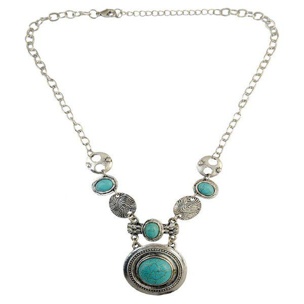 Faux Turquoise Oval Round Sweater Chain - SILVER