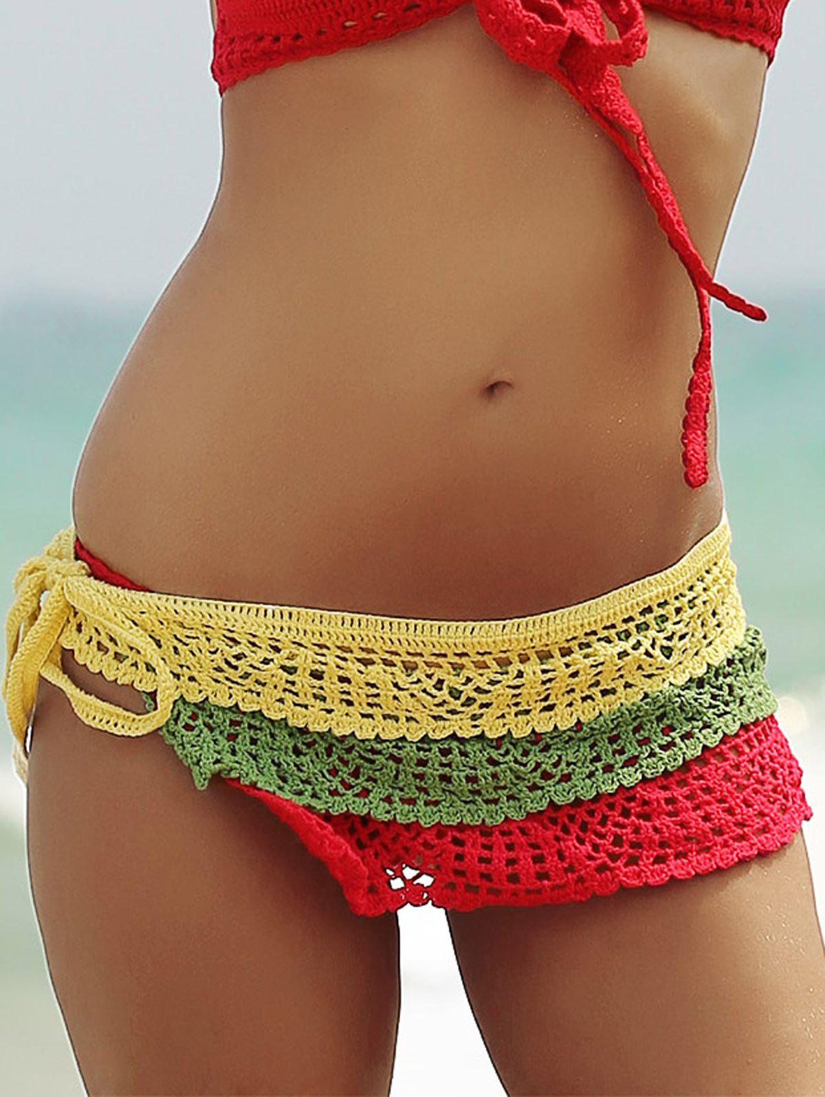 Layered Color Block Skirted Crochet Bathing Suit Bottom - COLORFUL L