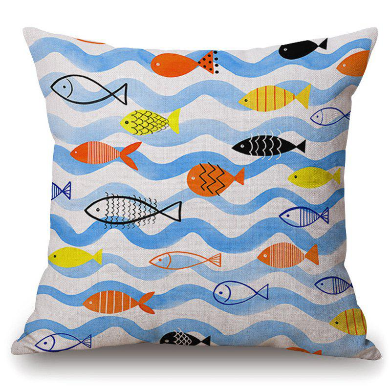 Stylish Cartoon Fish Wavy Striped Pattern Pillowcase (Without Pillow Inner) - COLORMIX