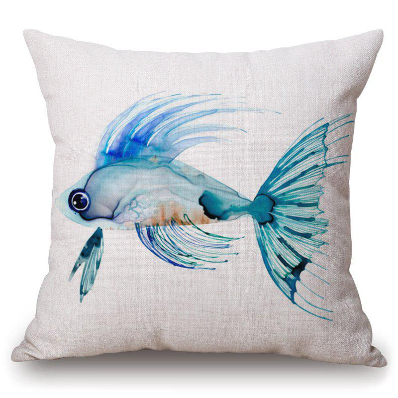Stylish Cyan Fish Pattern Square Shape Pillowcase (Without Pillow Inner) - TURQUOISE