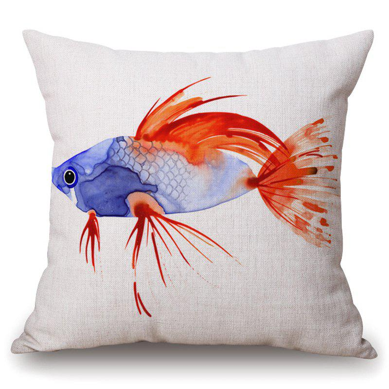 Stylish Watercolor Fish Pattern Square Shape Pillowcase (Without Pillow Inner) - BLUE/RED