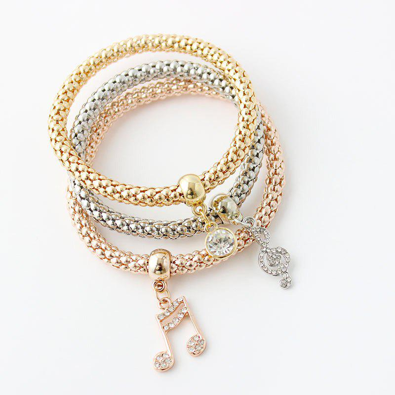 Retro Multilayer Rhinestone Musical Notation Charm Bracelet For Women - COLORMIX