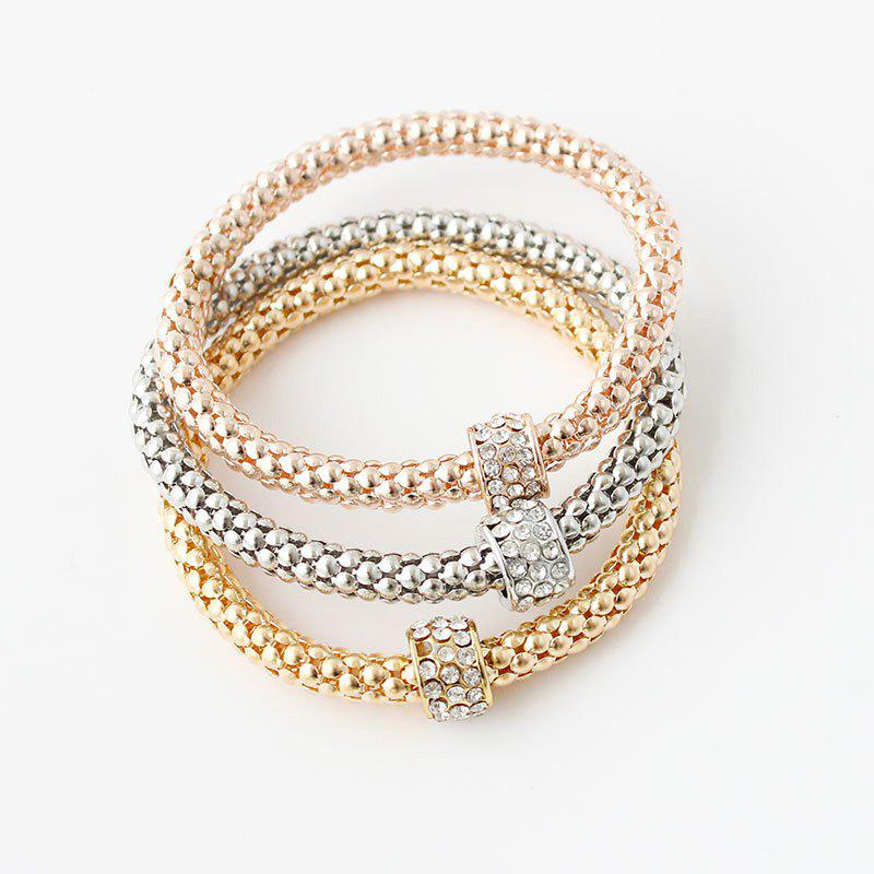 Retro Multilayer Rhinestone Circle Charm Bracelets For Women - COLORMIX