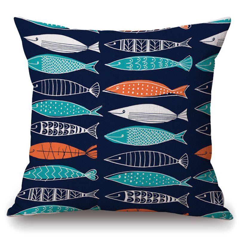 Stylish Geometric Fish Pattern Square Shape Pillowcase (Without Pillow Inner) - COLORMIX