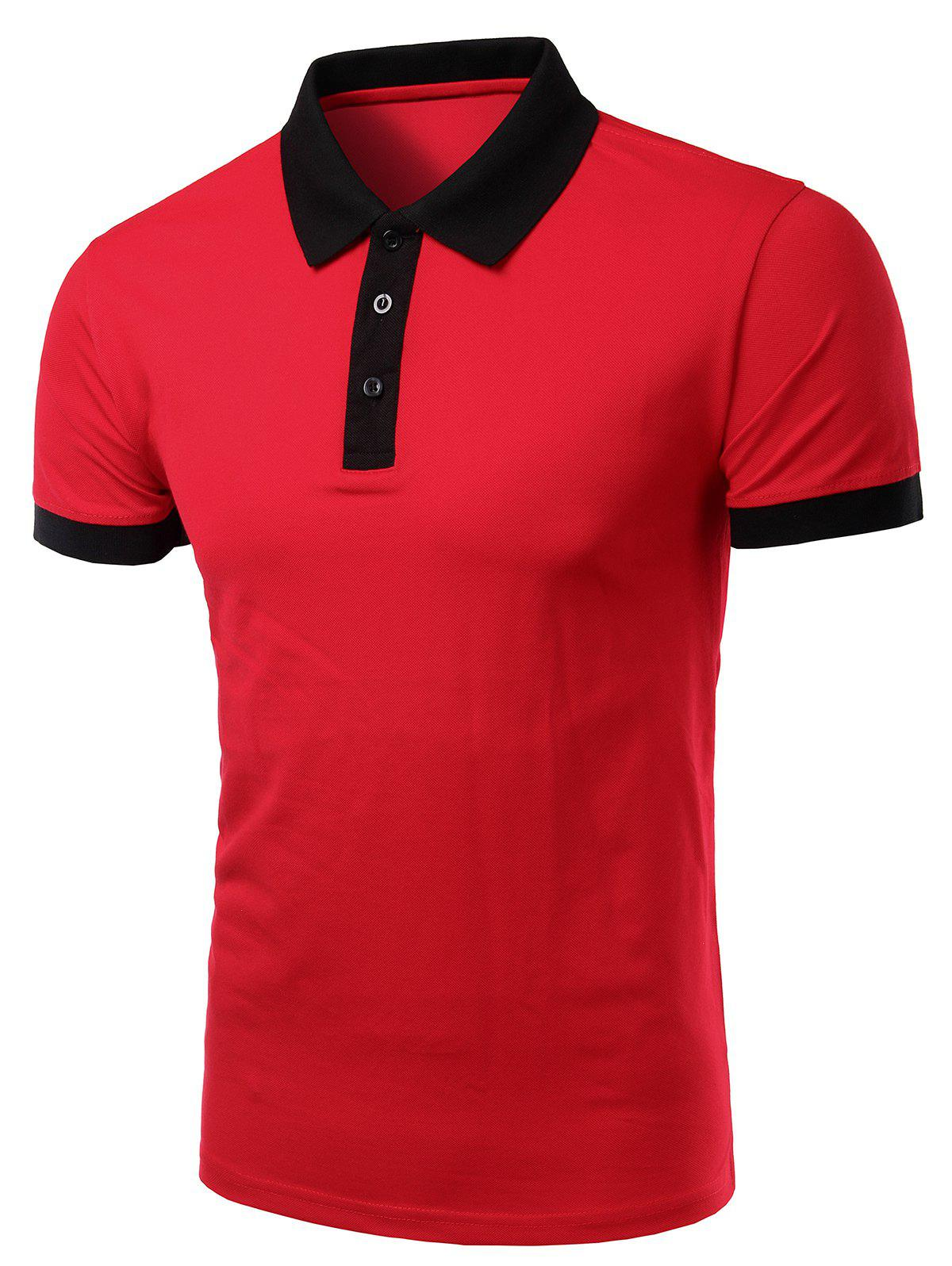 Casual Turn-Down Collar Color Block Short Sleeve Men's Polo T-Shirt - RED L
