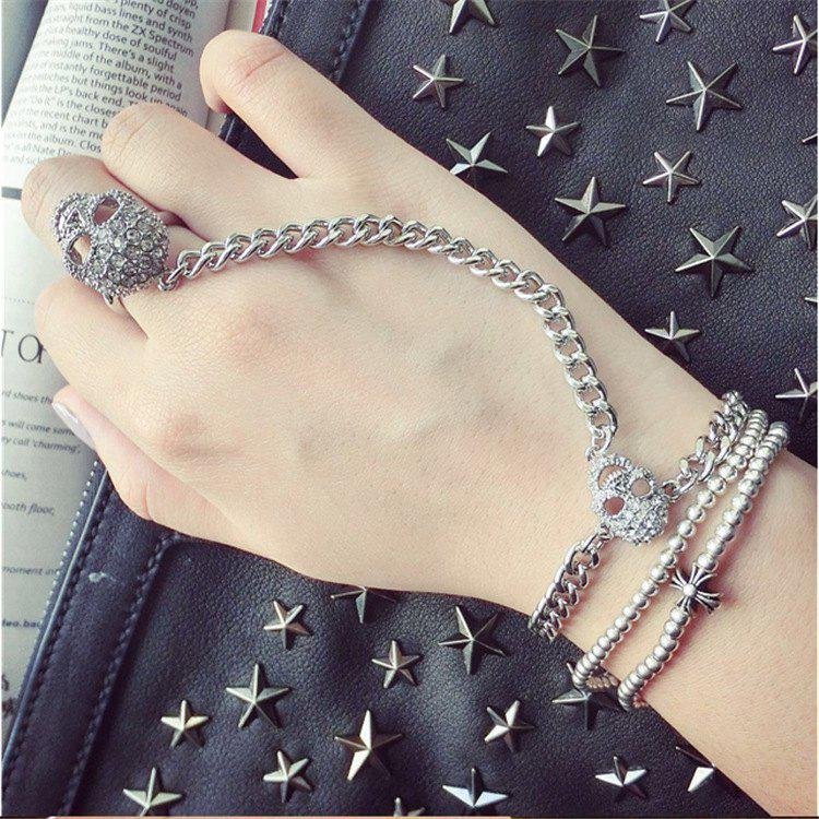 Punk Style Rhinestone Skull Bracelet With Ring For Women - SILVER