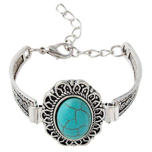 Retro Faux Turquoise Oval Floral Bracelet For Women - SILVER