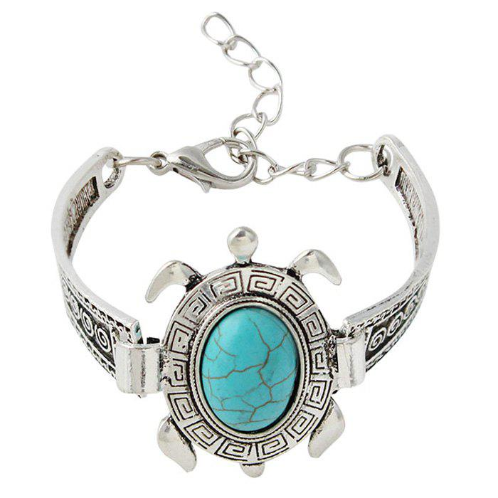 Retro Faux Turquoise Embossed Tortoise Bracelet - SILVER