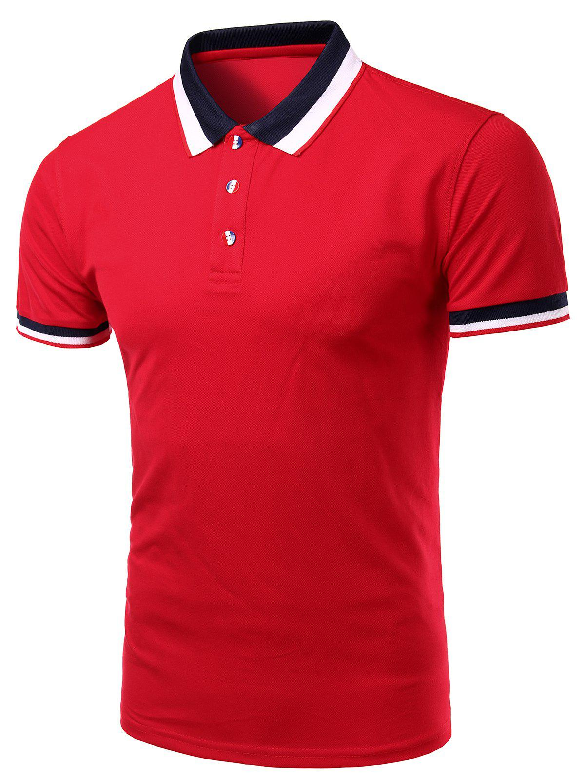 Stylish Turn-Down Collar Color Block Short Sleeve Polo T-Shirt For Men - RED 4XL