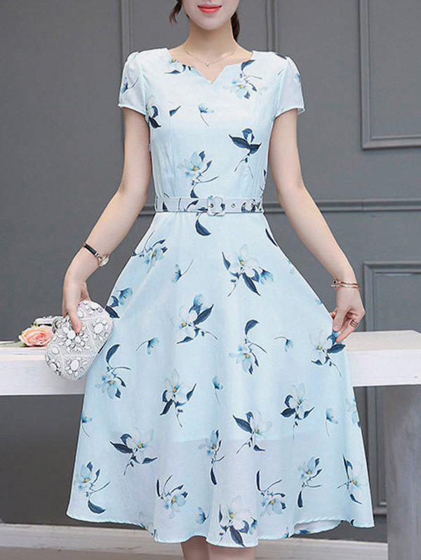 Sweet Women's V-Neck Short Sleeves Floral Print Dress - LIGHT BLUE XL
