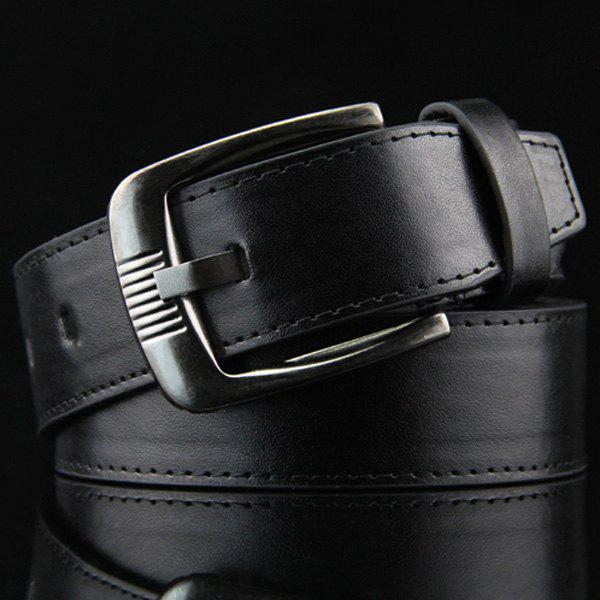 Stylish Rectangle Shape Pin Buckle Belt For Men - BLACK