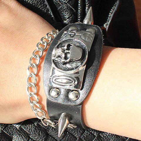Punk Rivet Skull PU Leather Bracelet - SILVER/BLACK