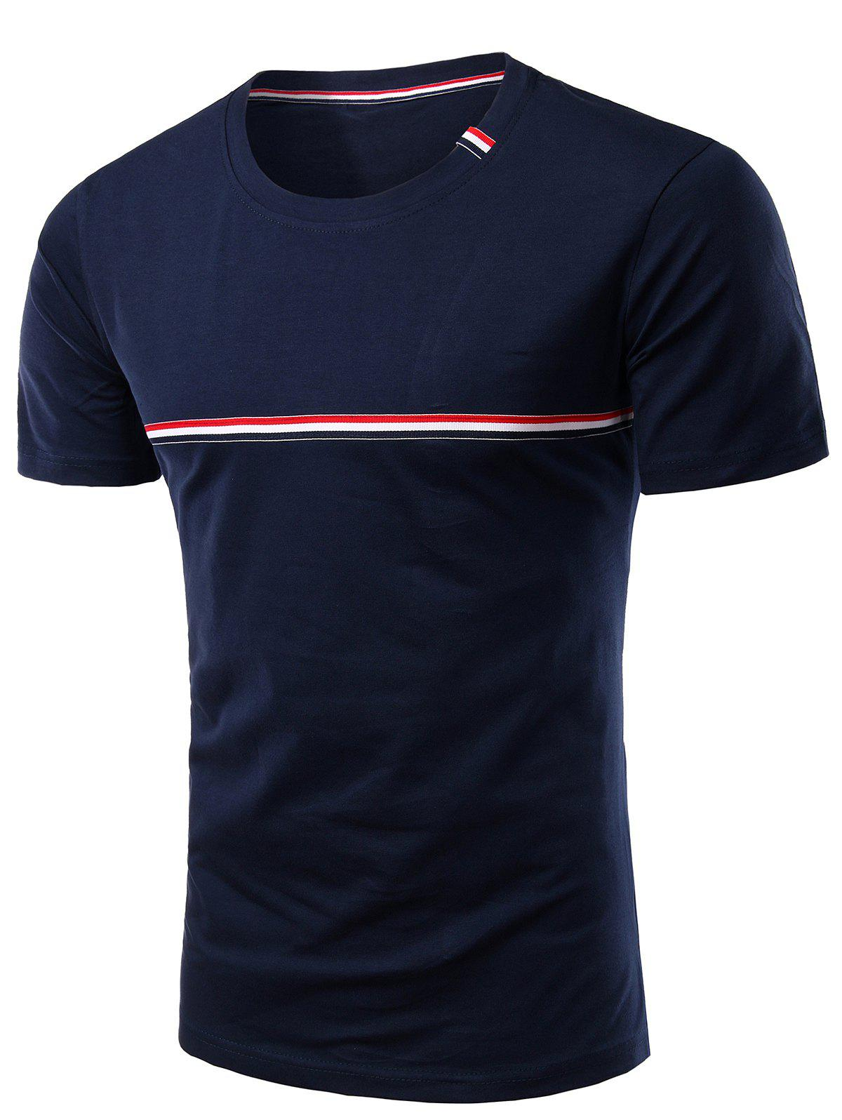 Trendy Round Neck Striped Printed Short Sleeve T-Shirt For Men - CADETBLUE 4XL