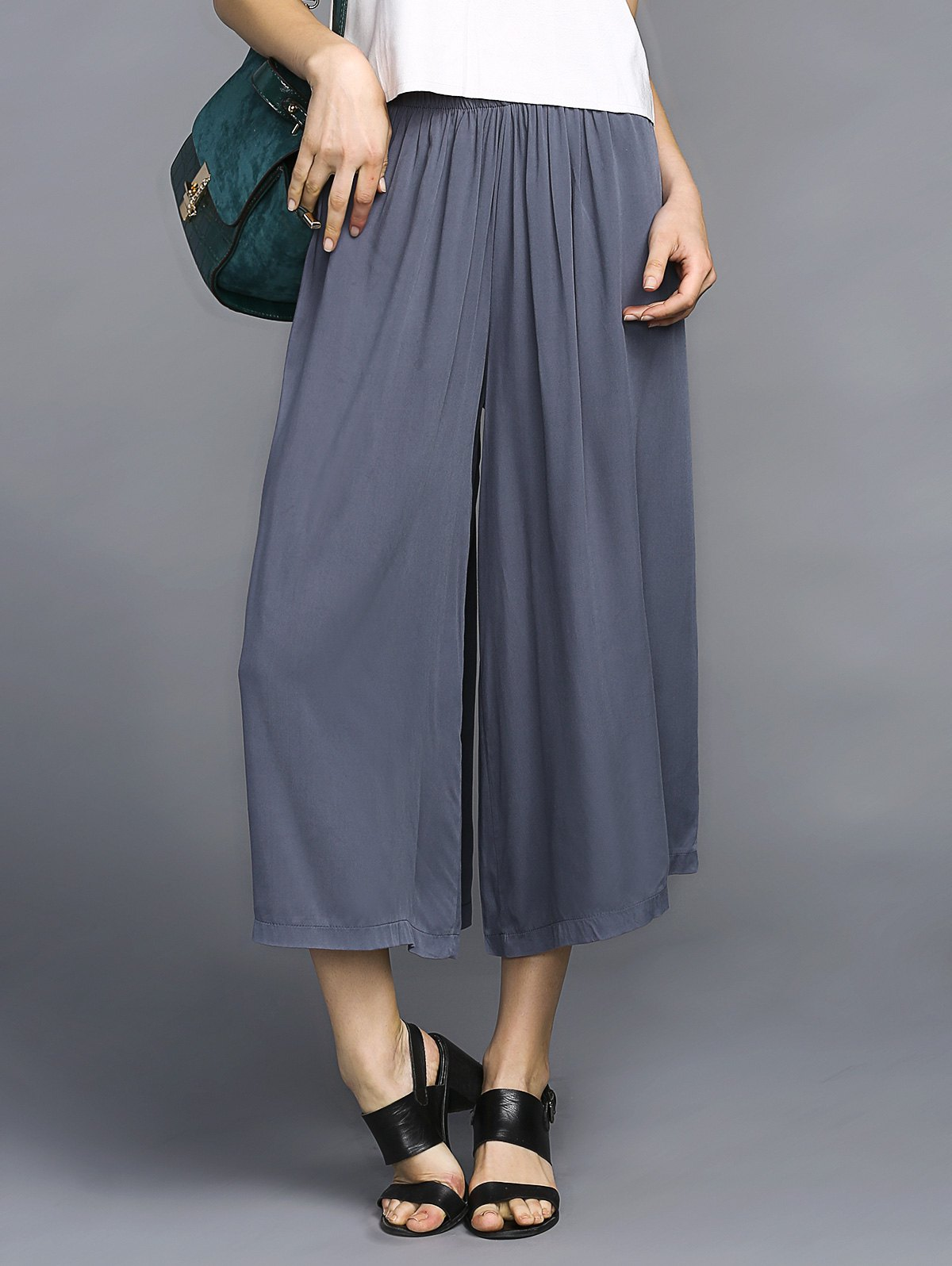 Trendy Elastic Waist Wide Leg Pure Color Chiffon Women's Ankle Pants - BLUE GRAY ONE SIZE(FIT SIZE XS TO M)