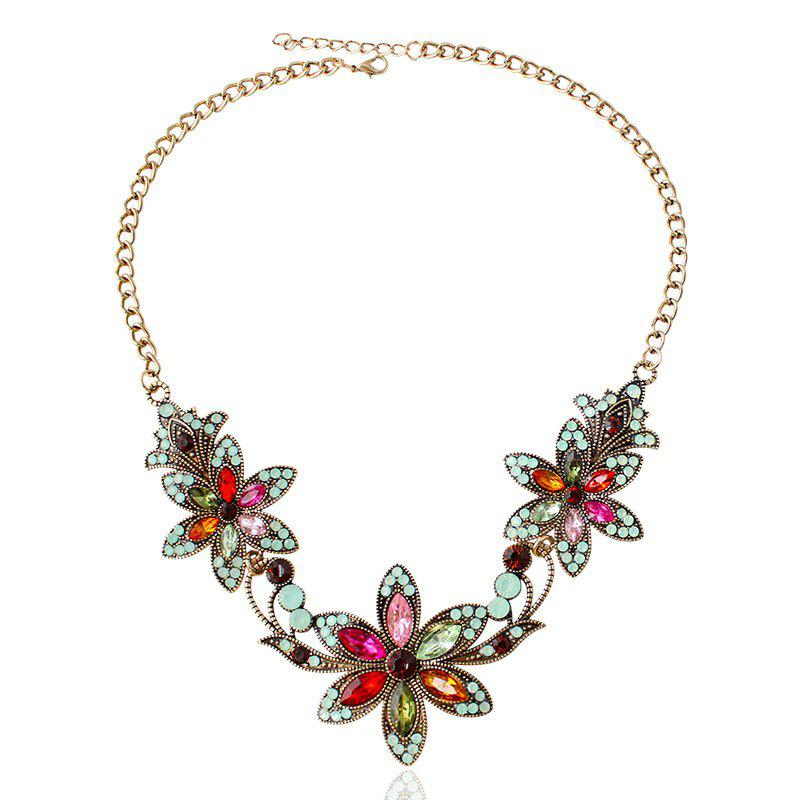 Fake Crystal Rhinestone Flower Necklace - COLORMIX