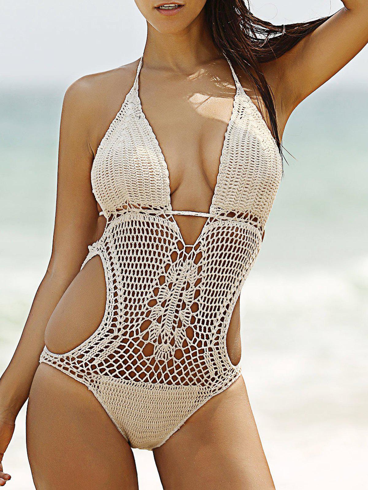 Attractive Halter Crochet Pure Color Hollow Out Women's Swimwear - OFF WHITE S