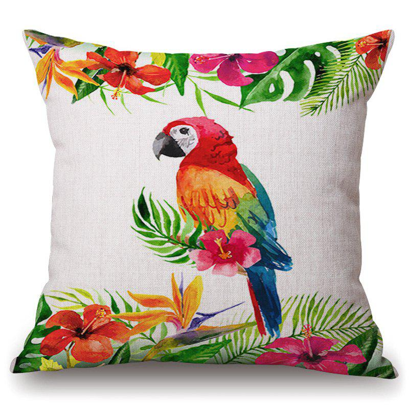 Stylish Tropical Plants and Parrot Pattern Flax Pillowcase (Without Pillow Inner) - COLORMIX