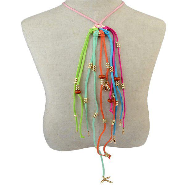 Chic Faux Leather Rope Sweater Chain For Women - COLORMIX