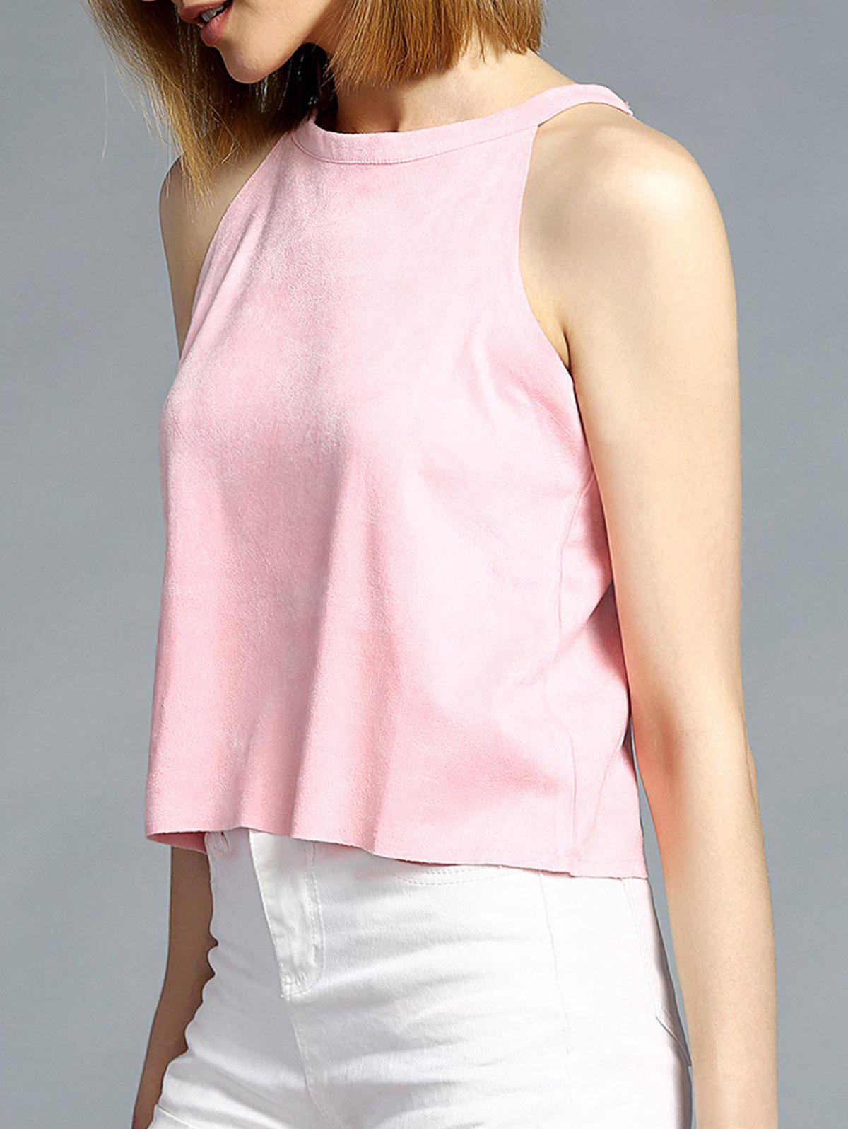 Brief Round Neck Pure Color Women's Tank Top - LIGHT PINK ONE SIZE(FIT SIZE XS TO M)