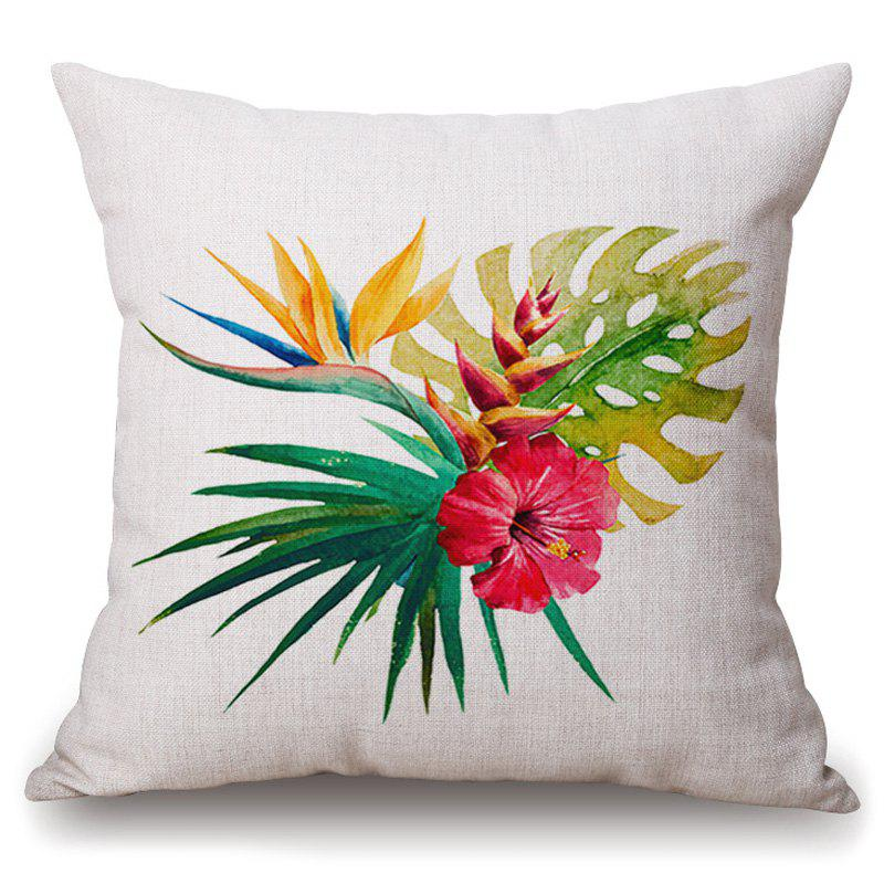 Stylish Tropical Plants Hibiscus Flower Pattern Flax Pillowcase (Without Pillow Inner)