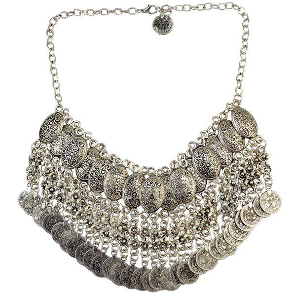 Engraved Coins Necklace - SILVER