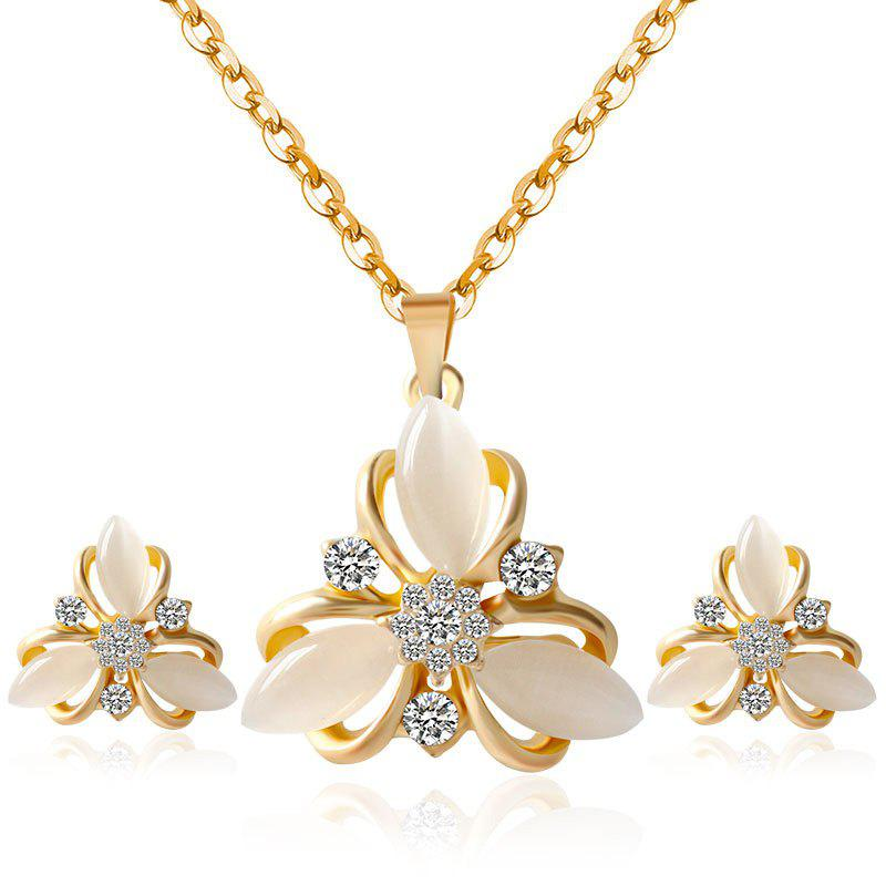 A Suit of Elegant Fake Opal Zircon Leaf Necklace and Earrings For Women