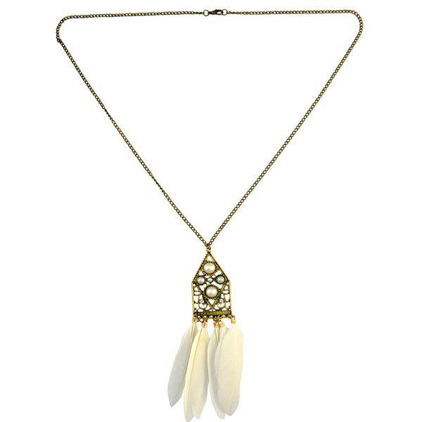 Faux Pearl Feather Sweater Chain - WHITE