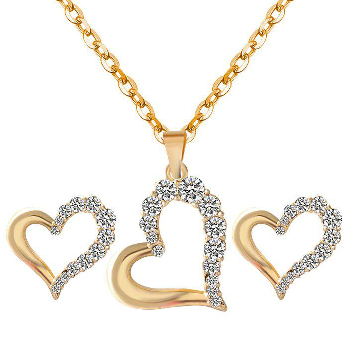 A Suit of Rhinestone Irregular Heart Necklace and Earrings  a suit of sweet rhinestone irregular heart necklace and earrings for women