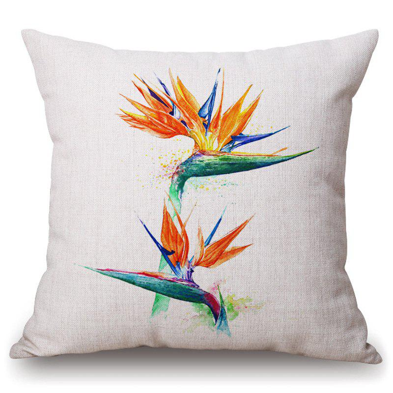 Casual Tropical Plants Pattern Square Shape Flax Pillowcase (Without Pillow Inner) - COLORMIX