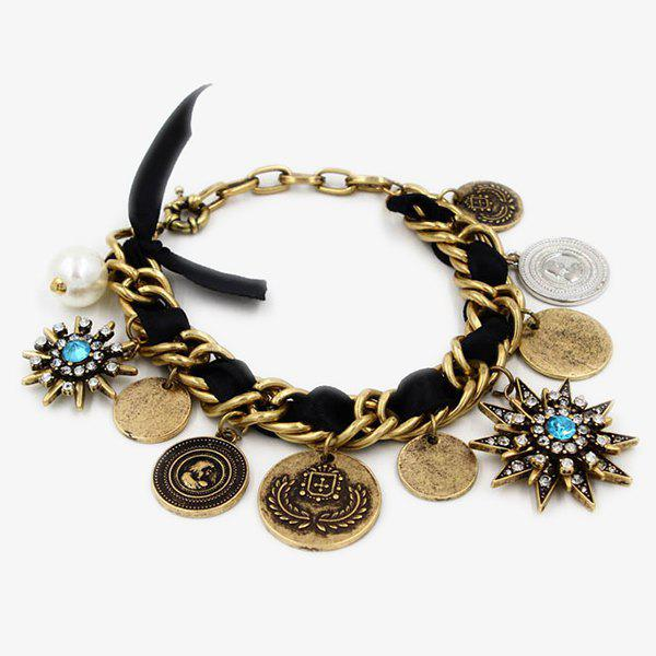 Chic Engraved Faux Pearl Star Bracelet For Women