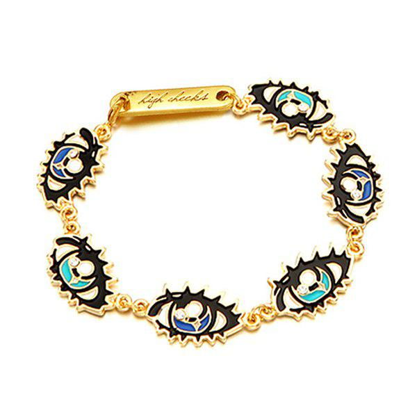 Rhinestone Eyes Bracelet - GOLDEN
