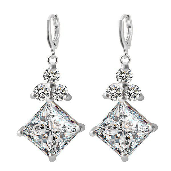 Pair of Faux Zircon Rhinestone Square Earrings - SILVER