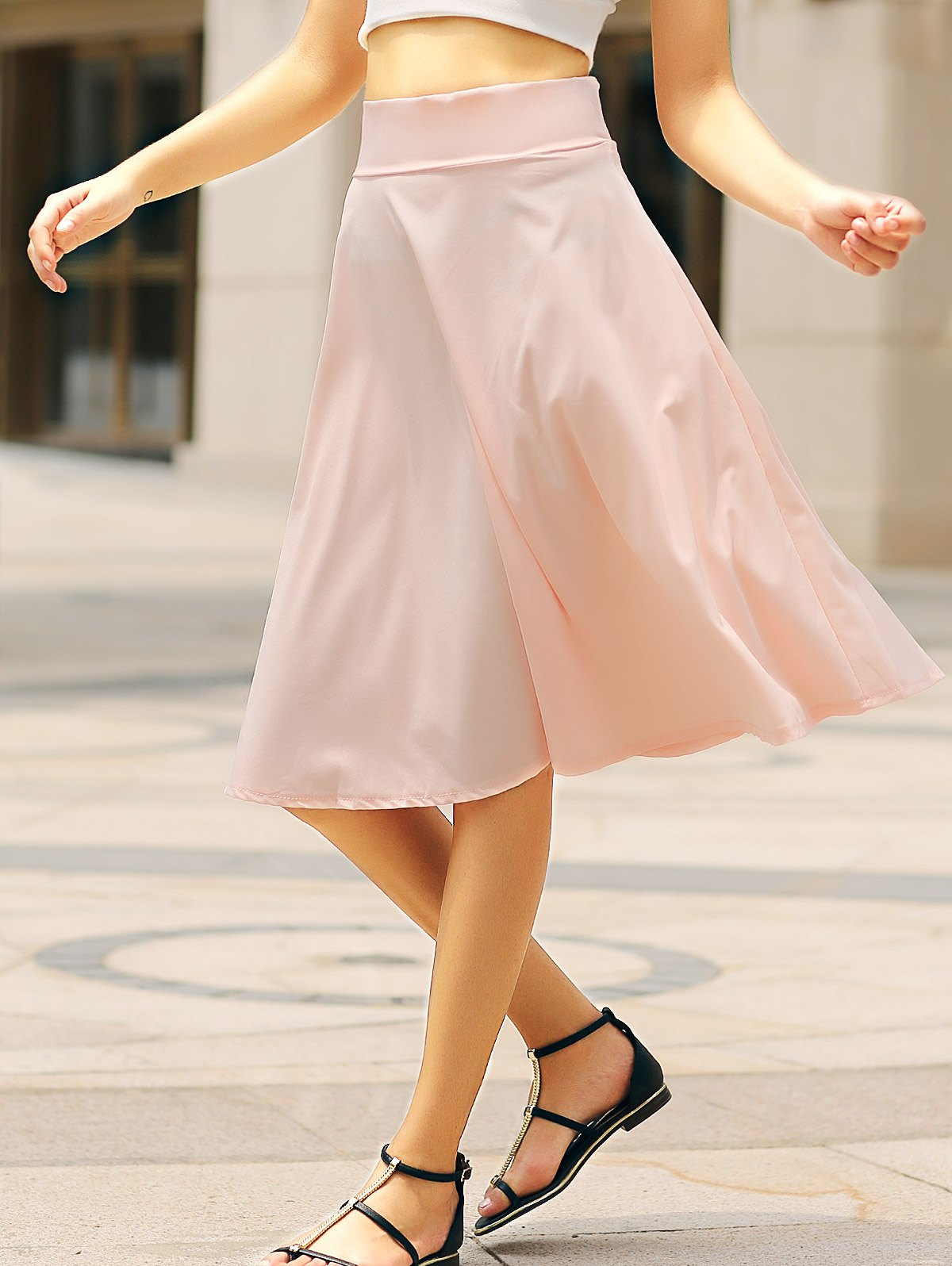 Elegant Solid Color High-Waisted Women's Skirt - PINK S