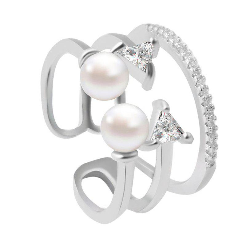 Elegant Multilayer Faux Pearl Triangle Opening Ring For Women