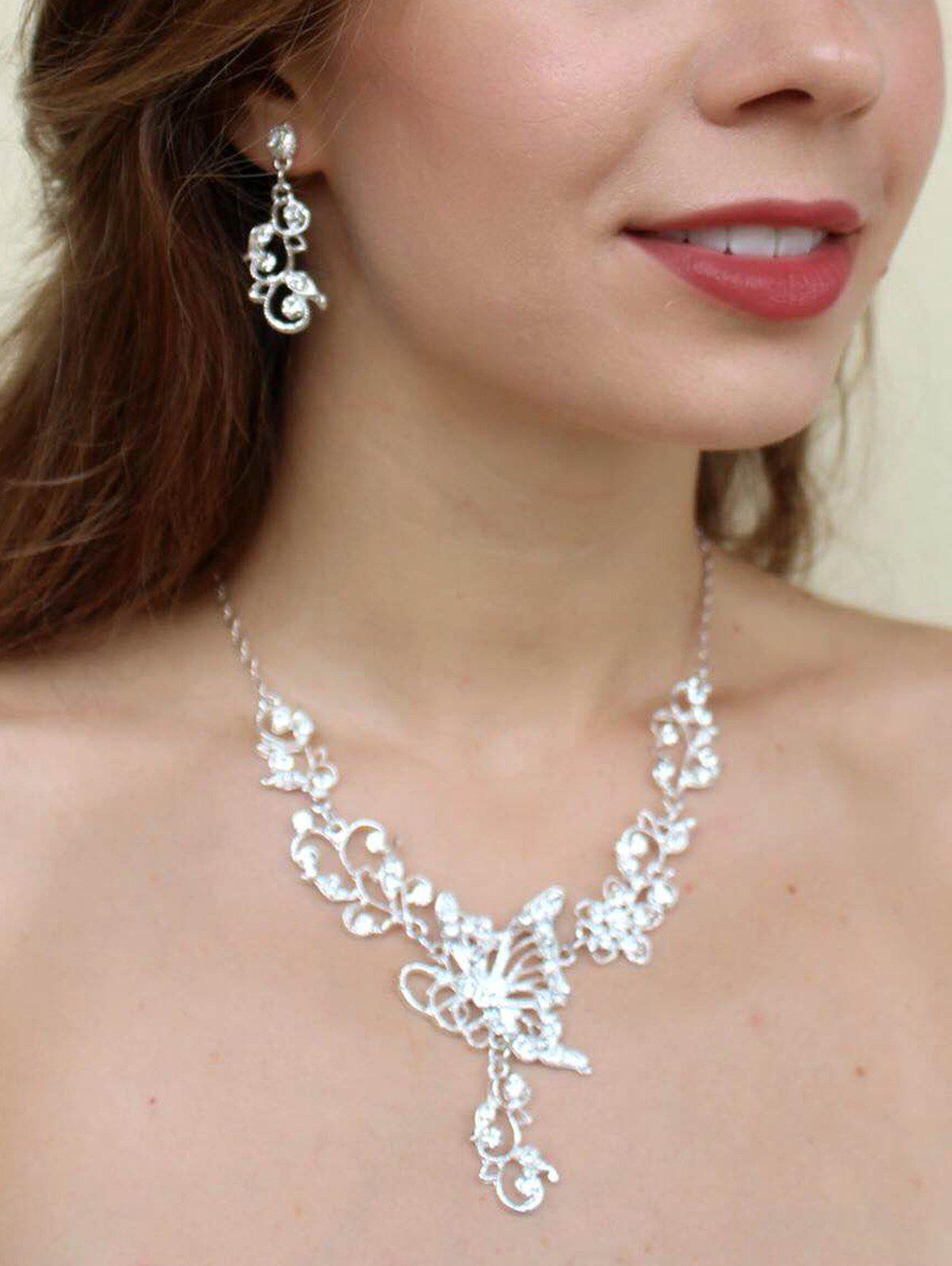 Diamante Butterfly Pendant Flower Embellished Necklace and Earrings - AS THE PICTURE