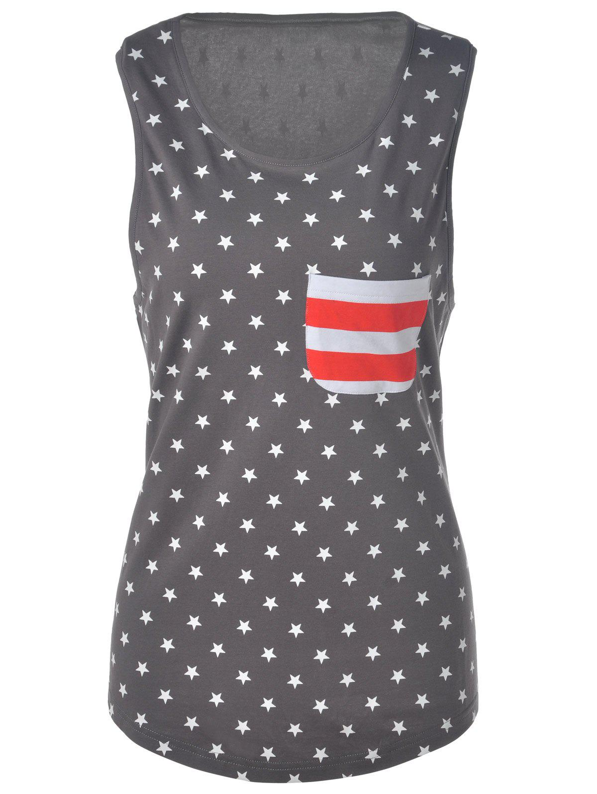 Casual Women's U Neck American Flag Tank Top - GRAY L