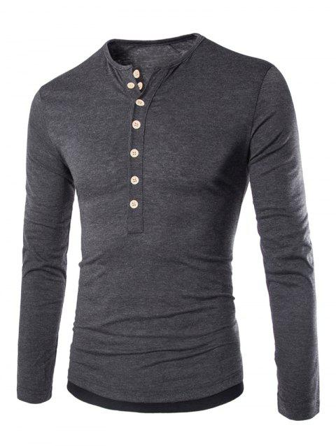 Color Block Long Sleeve Fitted Tee - DEEP GRAY 2XL