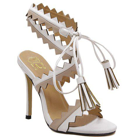 Stylish Cross-Strap and Color Block Design Women's Sandals - WHITE 39