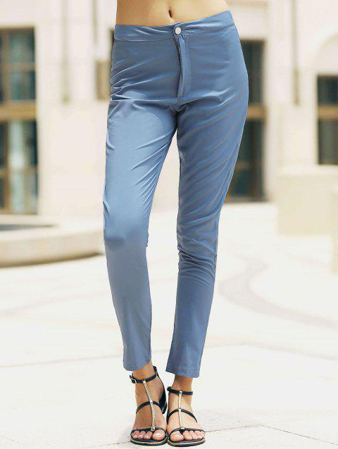 Stylish High-Waisted Slimming Pocket Design Women's Pants - LIGHT BLUE M
