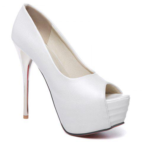 Elegant Candy Color and Stiletto Heel Design Women's Peep Toe Shoes - WHITE 39