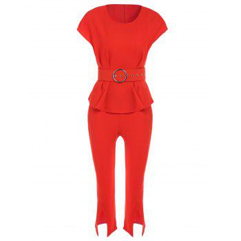 OL Style Round Neck Slimming T-Shirt + Furcal Solid Color Cropped Pants Women's Twinset