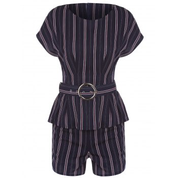 OL Style Short Sleeve Round Neck T-Shirt + Striped High-Waisted Shorts Women's Twinset