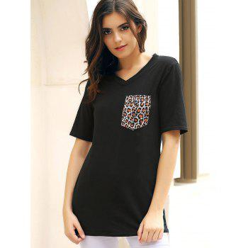 Stylish Half Sleeve V-Neck Leopard Print Women's T-Shirt - BLACK L