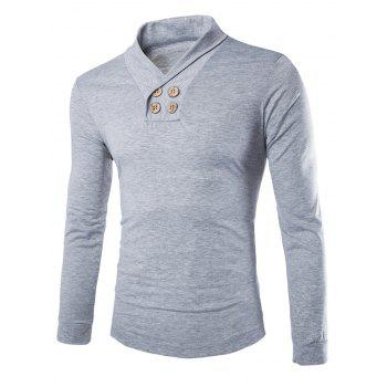 Slimming Turndown Collar Stylish Solid Color Button Design Long Sleeve Polyester Men's T-Shirt - LIGHT GRAY L