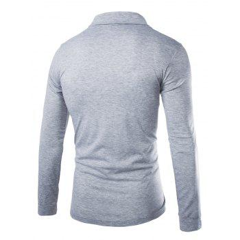 Slimming Turndown Collar Stylish Solid Color Button Design Long Sleeve Polyester Men's T-Shirt - L L