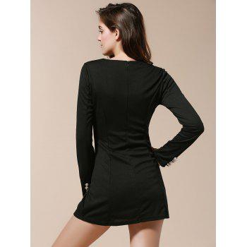 Fashionable V-Neck Solid Color Double-Breasted Long Sleeve Dress For Women - BLACK M