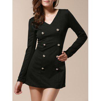Fashionable V-Neck Solid Color Double-Breasted Long Sleeve Dress For Women